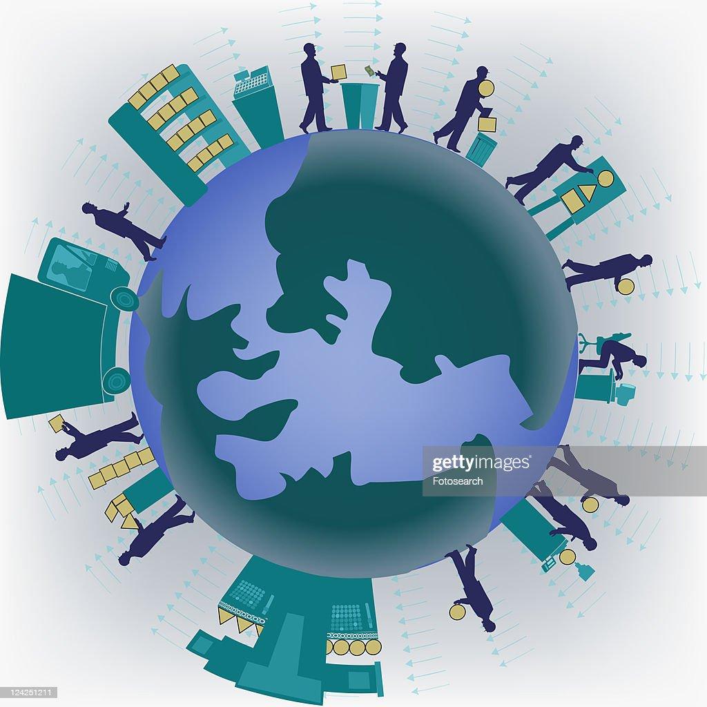 Group of businessmen standing on a globe : Stock Illustration