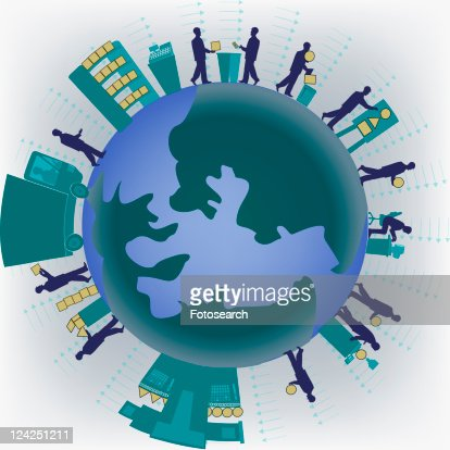Group of businessmen standing on a globe : Stock Illustration