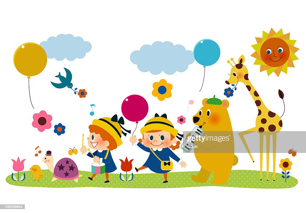 A group of children and animals playing : Stock Illustration
