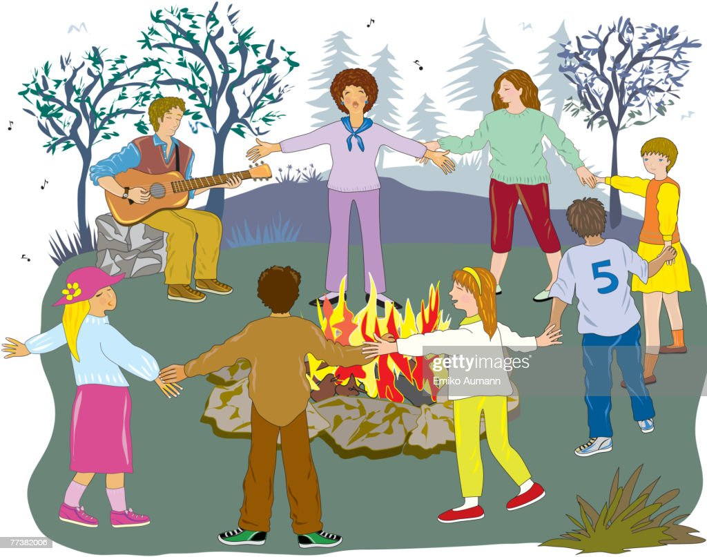 A group of friends holding hands around a campfire : Vector Art