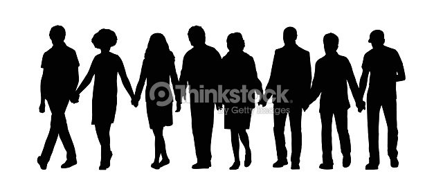 Group Of People Holding Hands Silhouette 1 Stock ...