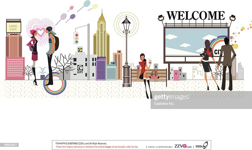 Group of people on a sidewalk in a city : Vector Art