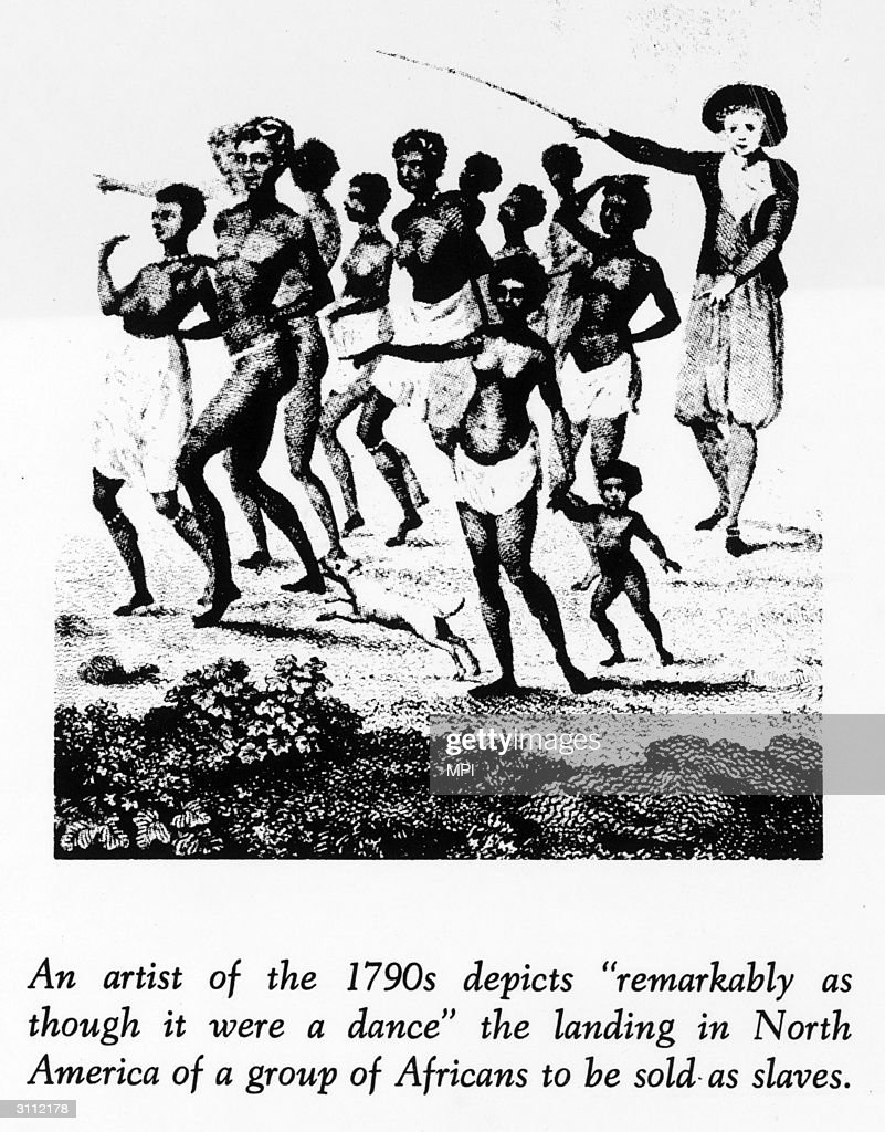 A group of slaves landing in America.