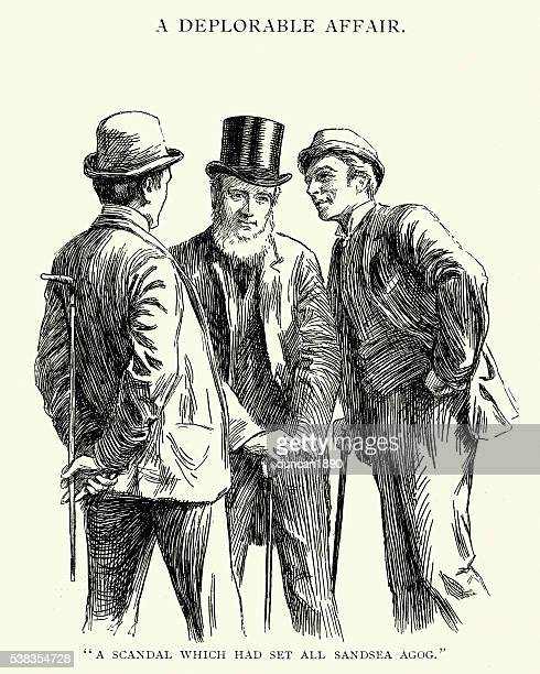 Group of Victorian men gossiping about a scandal