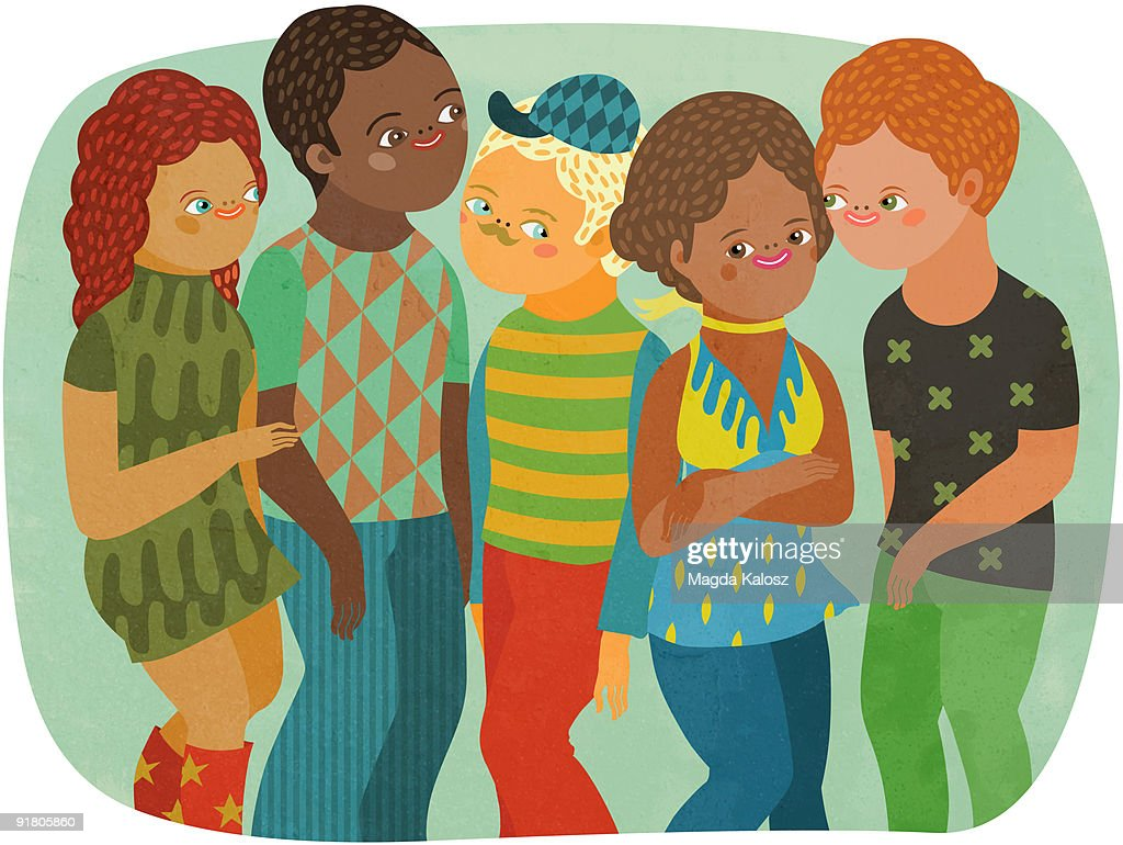 A group of young multi-racial men and women : Stock Illustration