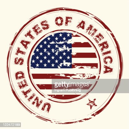 grunge american flag with rubber stamp and worn effect : Vector Art