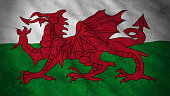 Grunge Flag of Wales - Dirty Welsh Flag 3D Illustration