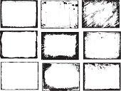 Set of 9 hand drawn grunge frame