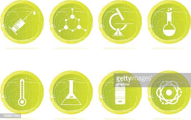 Grunge iconos de la ciencia