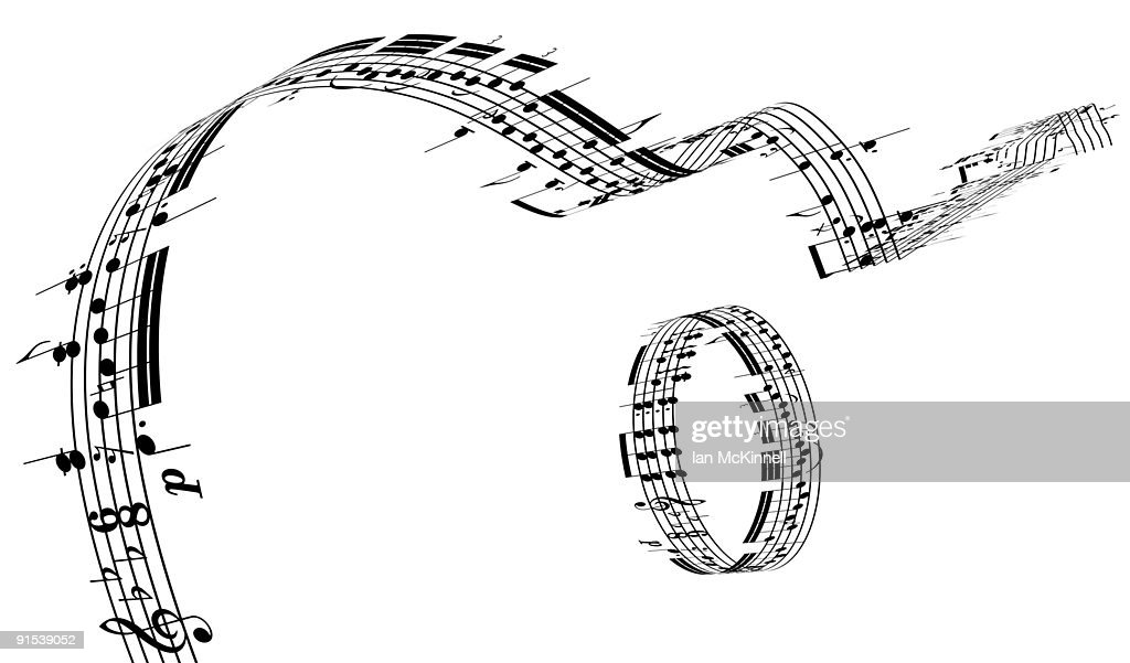 A Guitar made of music notes : Stock Illustration