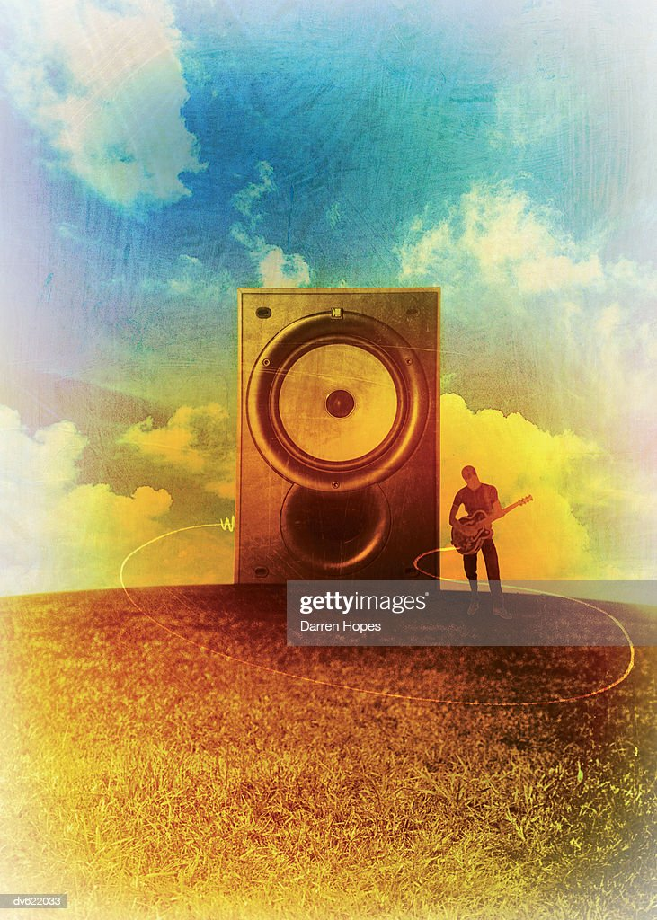 Guitarist and Stereo Speaker on Hill : Stock Illustration