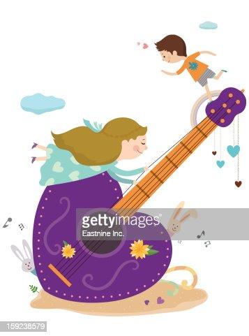 guitars and children : Stock Illustration