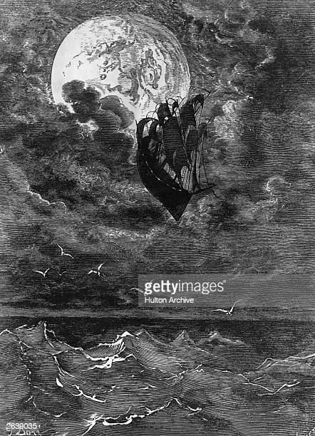 Gustave Dore's illustration of a ship sailing up into the air for Jules Verne's novel 'From The Earth To The Moon'