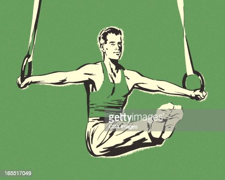 Gymnast on Rings : Stock Illustration