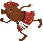 'Cartoon Haggis in Tartan Kilt with Sporran and Tam o' Shanter, Great for Burns night cards or invites'