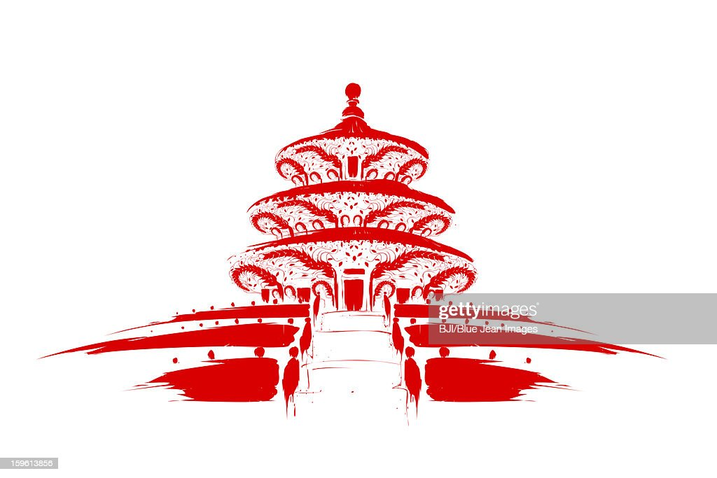 Hall of Prayer for Good Harvests of Temple of Heaven in Beijing, China : Stock Illustration