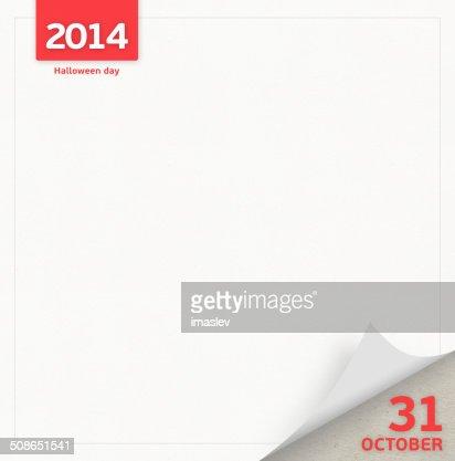 Halloween day calendar page : Stock Illustration