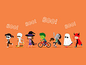 Halloween kids. Cute cartoon children in costumes: skeleton, mummy, witch or wizard, zombie, knight, ghost and devil