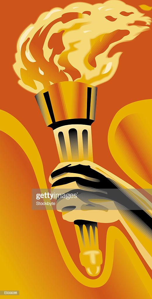 Hand carrying flaming torch : Stock Illustration