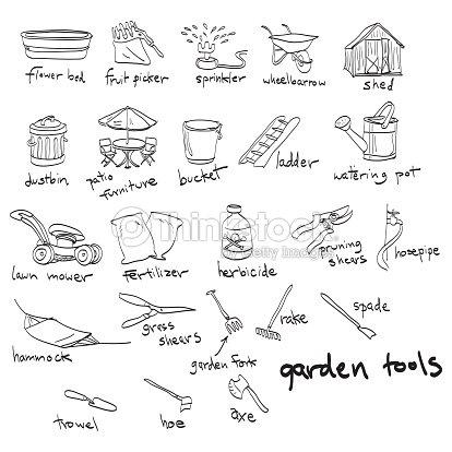 Hand drawn garden tools doodles stock illustration for Gardening tools drawing