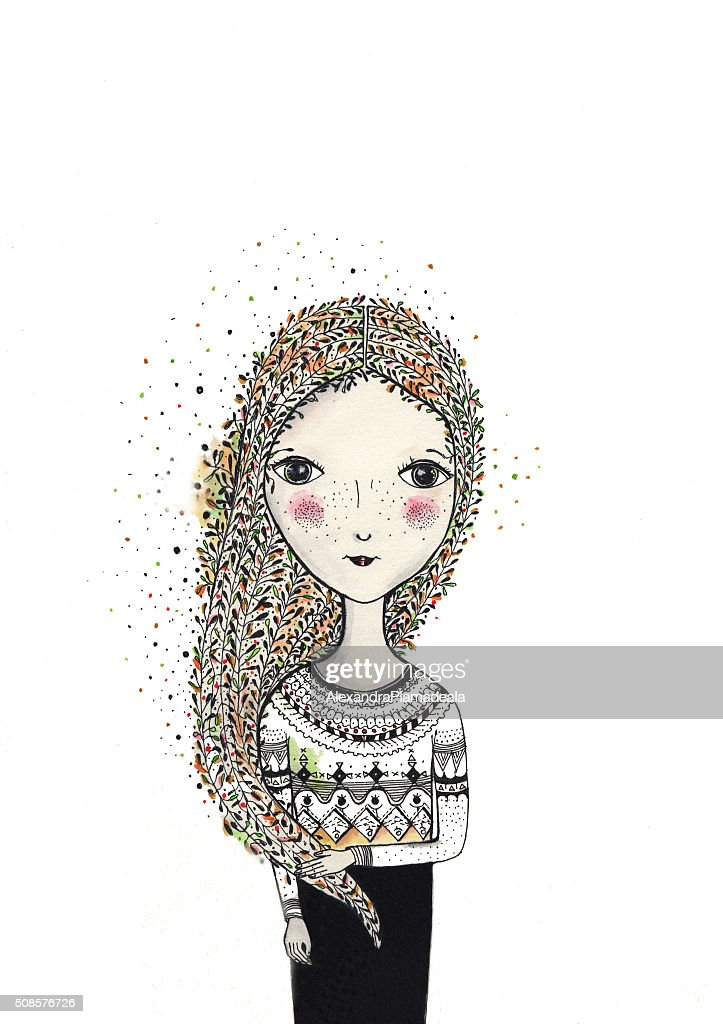 Hand drawn girl watercolor with decorative long hair : Stockillustraties