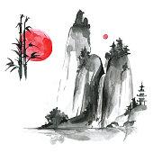 Hand drawn ink sumi-e elements: landskype, sun, bamboo. Japan traditional minimalistic style.