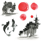 Hand drawn ink sumi-e elements: landskype, sun, temple, fich. Japan traditional minimalistic style.