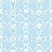 Vintage seamless pattern with blue classic ornament on white background. Hand drawn illustration