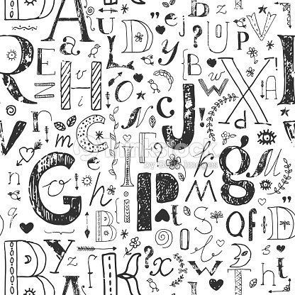 Hand drawn seamless pattern with doodle letters stock illustration hand drawn seamless pattern with doodle letters stock illustration altavistaventures Images