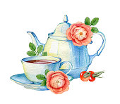 Hand drawn watercolor teacup and teapot on a white background.  Illustration for greeting cards, invitations, logos, and printed materials.