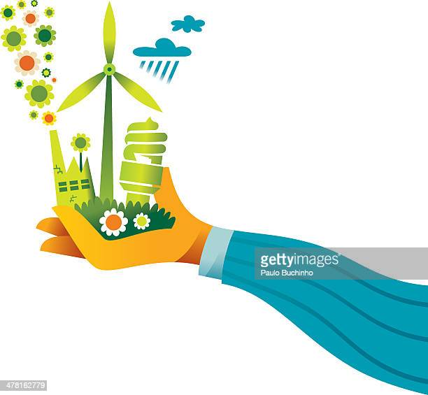 A hand holding a wind turbine, environmentally friendly factory, and a compact fluorescent light bulb