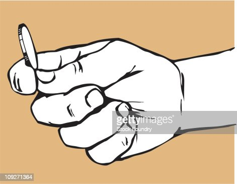 Hand Holding Coin : Stock Illustration