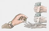 Hand holding coins above another person's open palm, other hands clasping banknotes