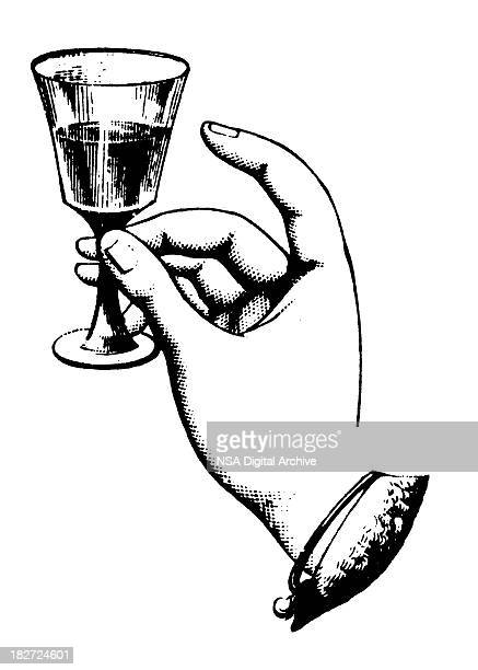 Hand Holding Glass Wine | Antique Design Illustrations
