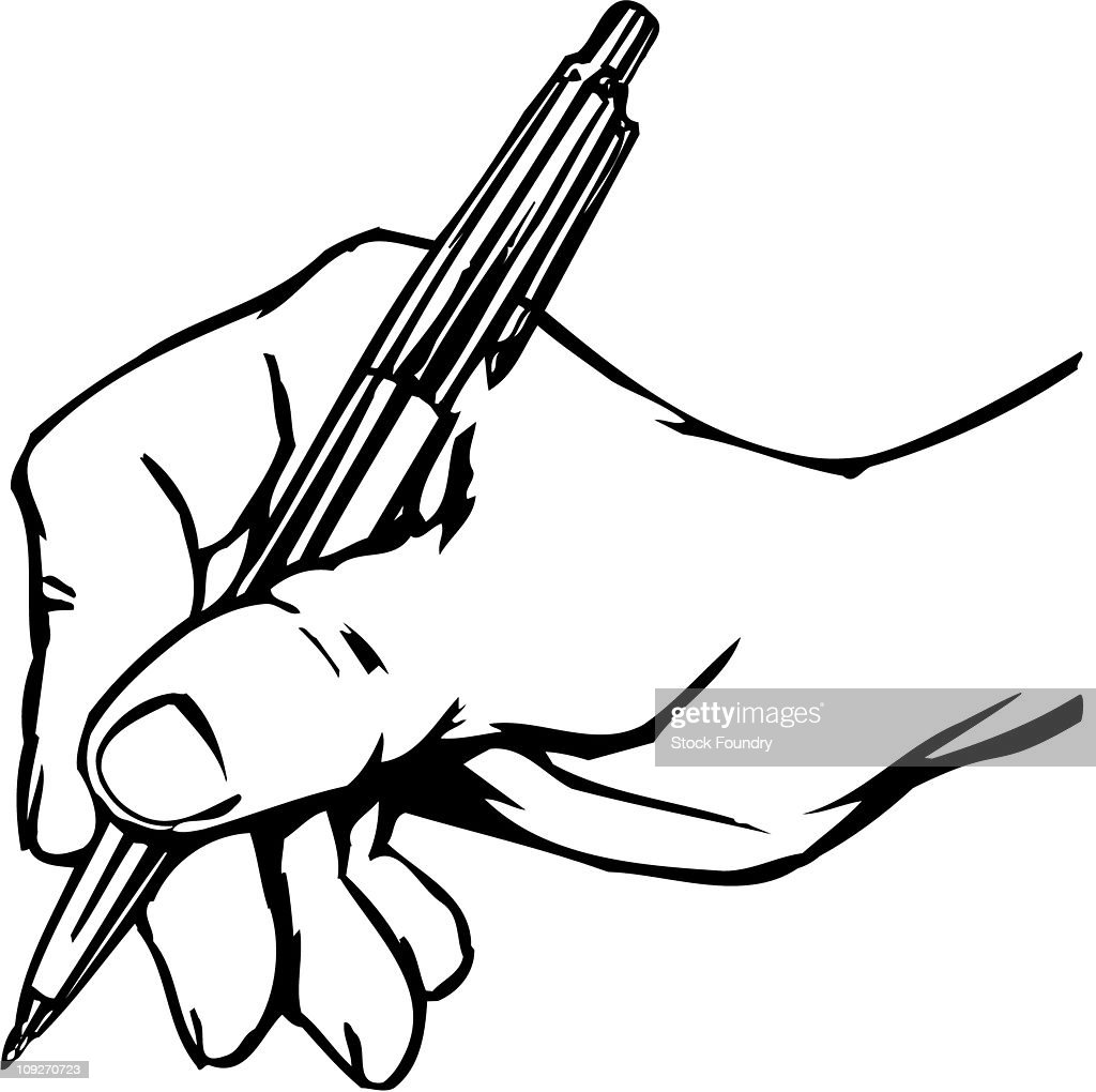 hand holding pen stock illustration getty images