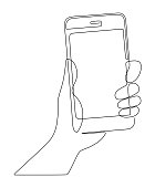 Hand holds the phone drawn by one continuous line on a white background