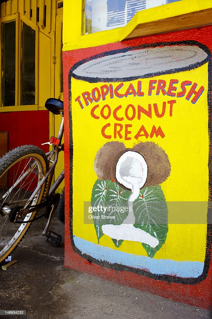 Hand painted advertisement for coconut cream. : Stock Illustration