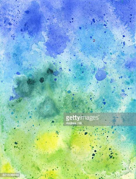 Hand Painted Blue and Green Watercolor Textured Background