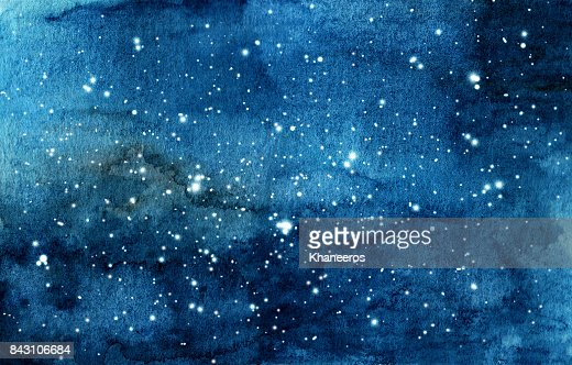 Hand painted watercolor illustration of night sky : Stock Illustration