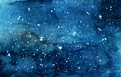 Hand painted watercolor illustration of night sky