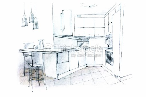 Hand sketching of a kitchen interior stock illustration - Cocina en perspectiva ...