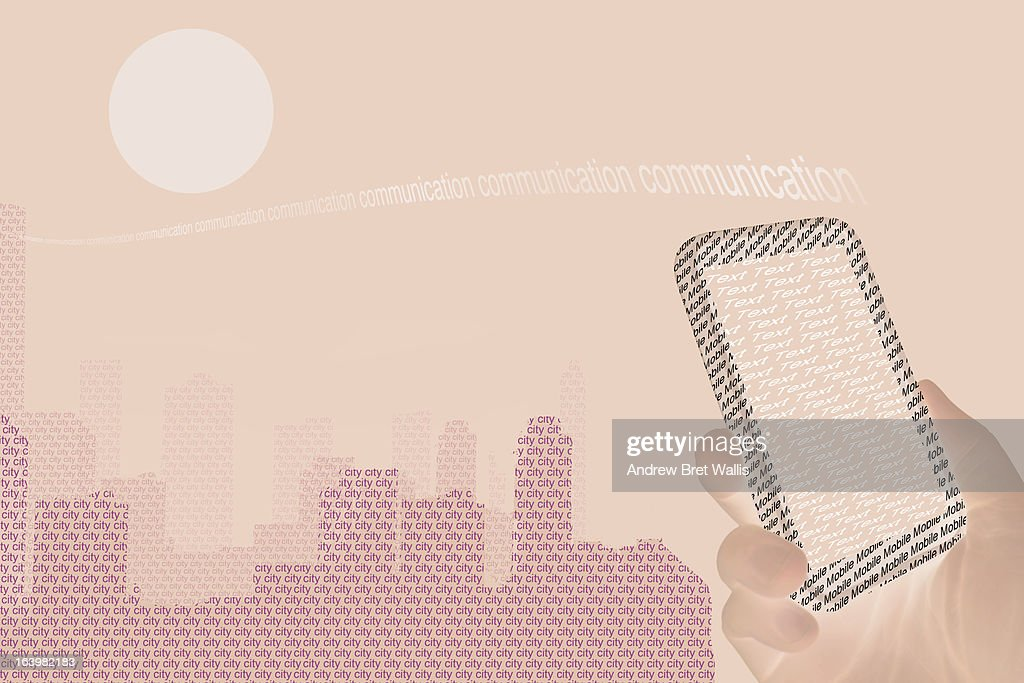 Hand texting from mobile with city in the distance : Stock Illustration
