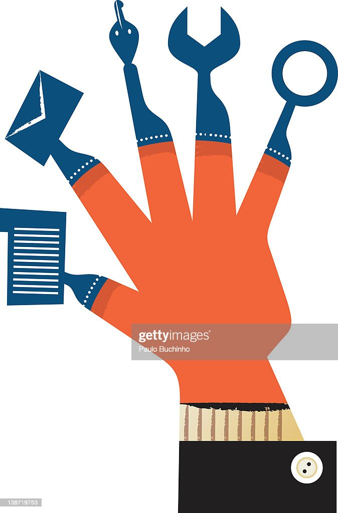 A hand with tools for fingers : Stock Illustration