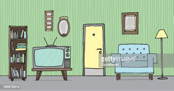 Handdrawn Illustration Of Vintage Living Room Vector Art