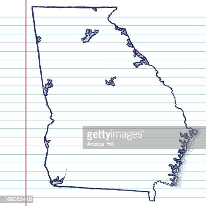 Handdrawn Map Of Georgia Vector Art Getty Images - Georgia map drawing