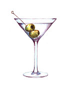 Hand-drawn watercolor illustration of the martini in the glass with green olives. Isolated alcohol drawing on the white background