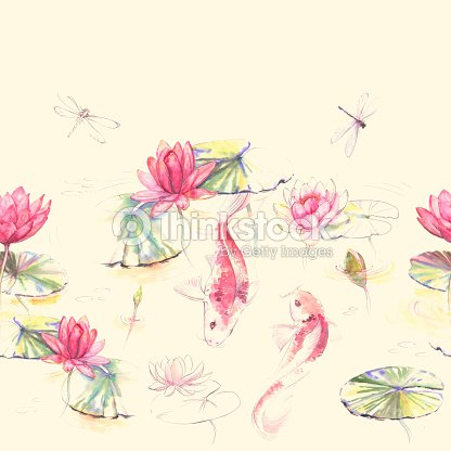 473cc025dba2d Hand-drawn watercolor seamless pattern in Japan style with lotus flowers,  leaves and Koi carp fishes