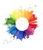 Handmade color wheel, watercolor illustration
