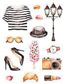 Watercolor fashion illustration. Watercolor illustration Paris style. Handpainted texture with striped top,sunglasses, cosmetics, shoes,ice cream,macaroons,hat.Perfect for you project,wallpaper,print
