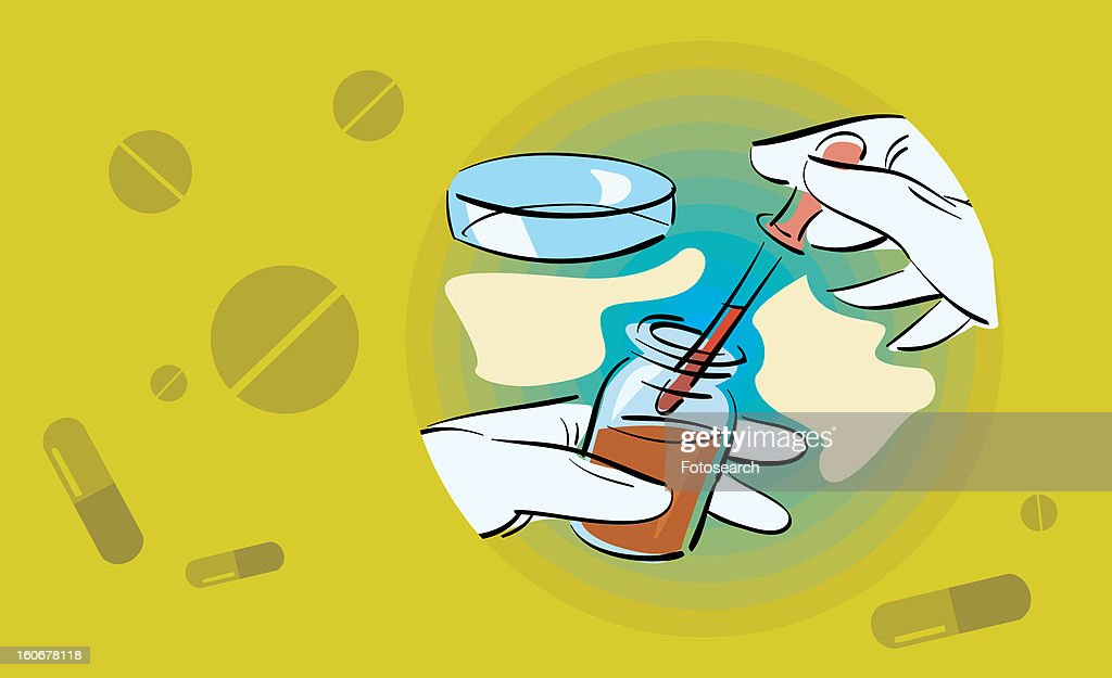 Hands filling dropper from vial : Stock Illustration